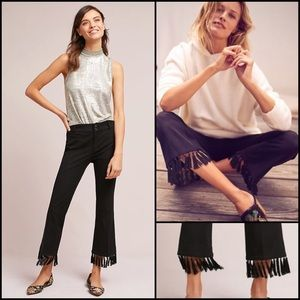 Anthro Essential Tassel-Hem Cropped Flare Pants 8
